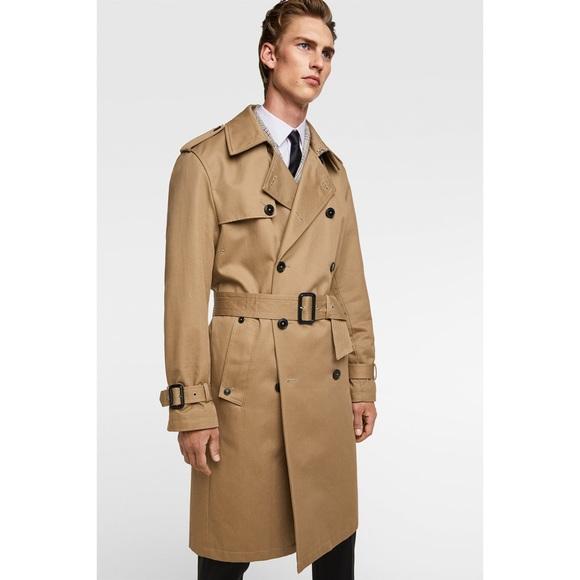 c8f3d1b2 Zara Jackets & Coats   Nwt Man Tan Camel Water Repellent Trench Coat ...